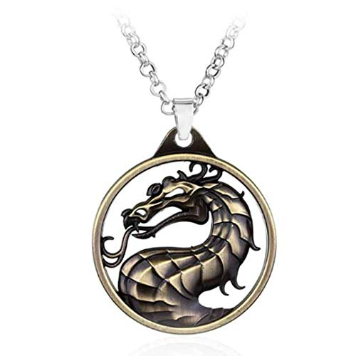 Dan's Collectibles and More Mortal Kombat X Necklace Jewelry Pendant Dragon Game Scorpion Movie Sub-Zero Liu Kang Goro Raiden Reptile w/Gift Box (BronzeNeck)