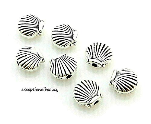 50 Antiqued Tibetan Silver 9x8mm Scalloped Clam Shell Spacer Accent Metal Beads