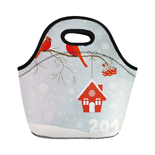 Semtomn Neoprene Lunch Tote Bag Blue Cute Red Cardinal Bird Birdhouse on Branch Reusable Cooler Bags Insulated Thermal Picnic Handbag for Travel,School,Outdoors,Work