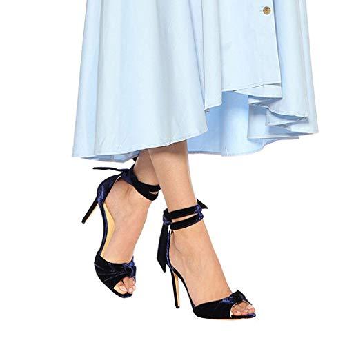 Pescado Boca Correa Del Zapatos Fiesta Altos Vestido Tobillo Bloque Moda Sandalias Punta Abierta Plataforma Tacón De Bombas Aguja Banquete Blue Tacones Mujer xfYfO7Xw