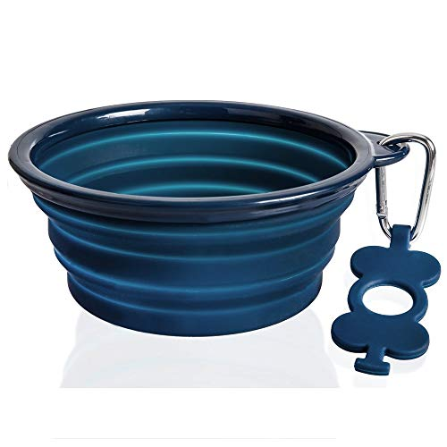 (Bonza Collapsible Dog Bowl, Portable Dog Water Bowl is 7 Cup Capacity for Large Breed Dogs, Lightweight, Sturdy, Leak Proof, Food Safe, Premium Quality Travel Pet Bowl Solution (Large, Navy Blue))