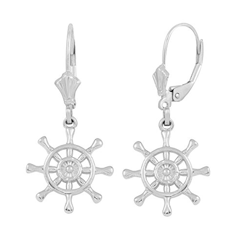 925 Sterling Silver Ships Wheel Leverback Nautical - Gold Ships Wheel
