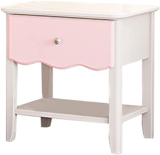 tavolo da notte 49 x 47 x 39,5 cm con 1 cassetto M/&Z mobile portaoggetti Comodino bianco e rosa in pino massiccio