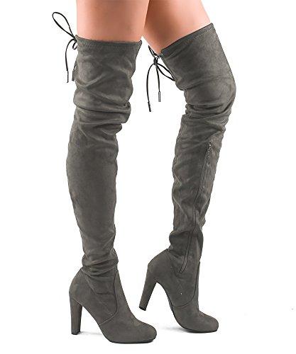 RF RAUM DER MODE Frauen Mode Bequeme Vegane Wildleder Blockabsatz Seitlicher Reißverschluss Oberschenkel Hohe Overknee Stiefel Premium Graues Wildleder