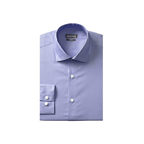 Kenneth Cole Reaction Men's Slim-Fit Chambray Dress Shirt, Dusty Blue, 17