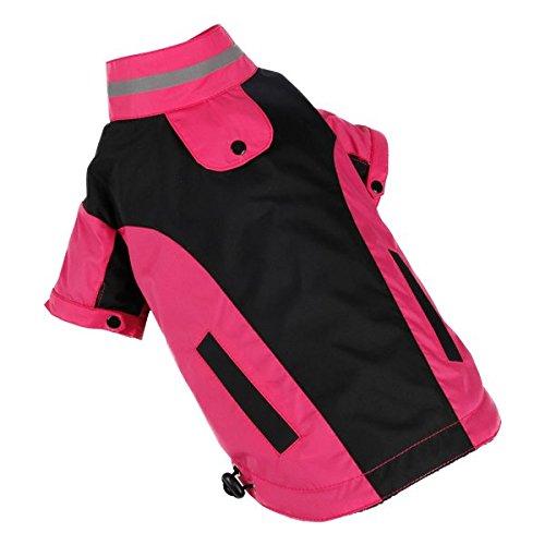 Impermeable para perros Nobleza, color rosa y negro, largo 30cm.