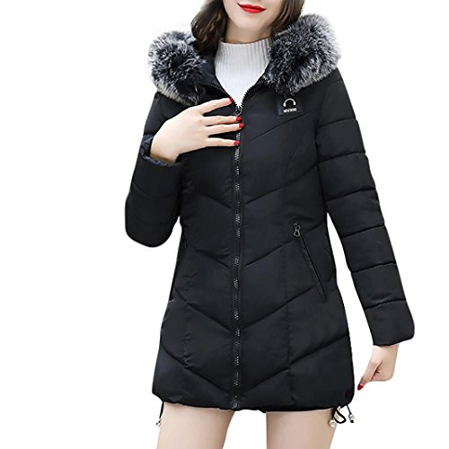 KaloryWee cálido Mujer Abrigo de delgado de mujer Para A2 de Parka Chaqueta negro abrigo Plumas invierno raOw0rx