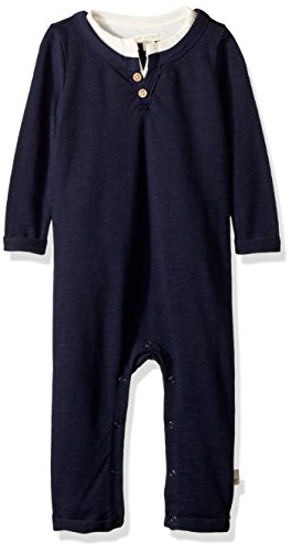 Boys Dressing Up Outfit (Burt's Bees Baby Baby Boys' Romper Jumpsuit, 100% Organic Cotton One-Piece Coverall, Midnight Henley, 0-3)