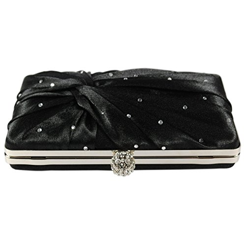 Box Evening Style Closure Crystal Pleated Satin Clasp With Diamante A Bag Clutch Black UEqawIn
