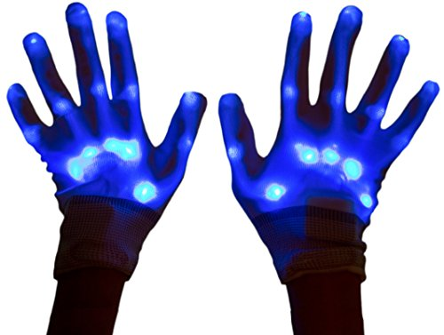 [Neon Nightlife Light Up Gloves for Kids, LED, Blue] (Neon Party Outfits)