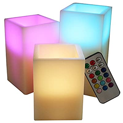 LED Lytes Battery Flameless Candles - Set of 3 Square Ivory Wax with Flickering Multicolor Flame, auto-off Timer Remote Control