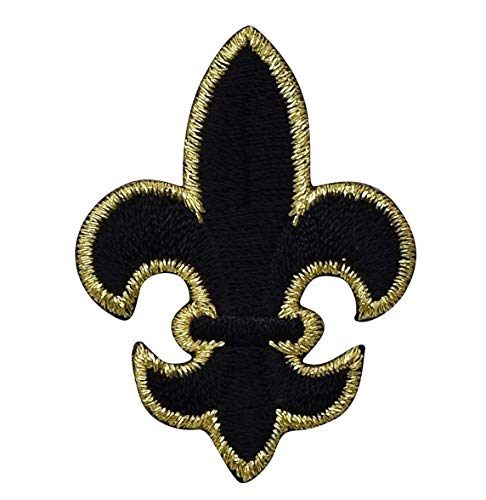 Large Black and Gold Fleur De Lis Iron on Embroidered Patch ()