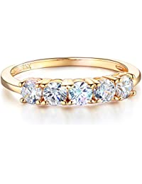 Ladies Solid 14k Yellow Gold Polished CZ Cubic Zirconia Round Cut Five 5 Stone Anniversary Wedding Band