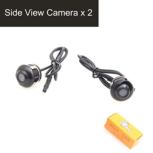 E-Kylin Vehicle Car Auto Side View Camera, 360 Degree Angle Adjustable Side Mirror Flush Mount Camera, Mirror Image w/o Grid Lines, 22.5mm Hole Saw - Pack of 2
