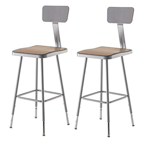 National Public Seating 6324HB-CN Steel Stool with Square Hardboard Seat Adjustable and Backrest, 25''-33'', Grey (Pack of 2) by National Public Seating
