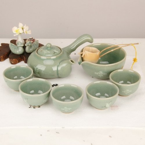 Teaset Korean 'Crane & Cloud' (운학) Gift Boxed / Teapot+5 Cups+sookwoo / Hand-made