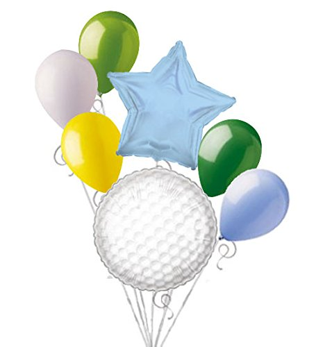 7 pc Golf Ball Balloon Bouquet Party Decoration
