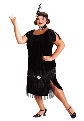 Deluxe Black Plus Size Flapper Costume - -