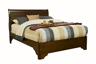 Alpine furniture 5 piece chesapeake sleigh bed set with media chest queen cappuccino for 5 piece queen sleigh bedroom set