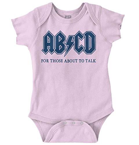 (Brisco Brands ABCD Alphabet Cute Funny Newborn Rocker Romper Bodysuit Pink)