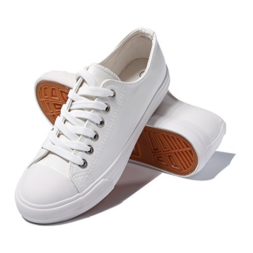 AOMAIS Womens Fashion PU Leather Sneakers Low Top Lace up Canvas Shoes - Textured Leather White