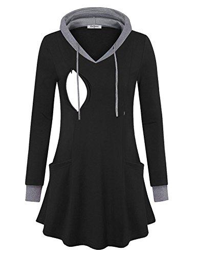 - Hellmei Nursing Tshirts Women,Sweatshirts Dress, Ladies Casual Tunic Sweatshirt Color Block A Line Soft Hoodie Tunic Top Office Wear(Black, 2XL)