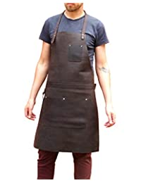 One Leaf Leather Work Apron (Chef, Butcher, Metalworker, Carpenter) Silver Hardware