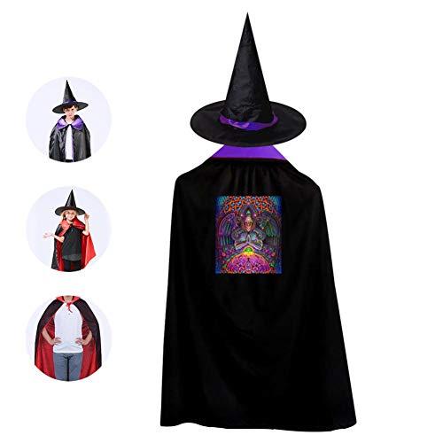 Pope Buddha God Source Kids Cloak Suit Halloween Vampire Cowl Magic Costume Cosplay Cape + Witch Hat Boys Girls Purple