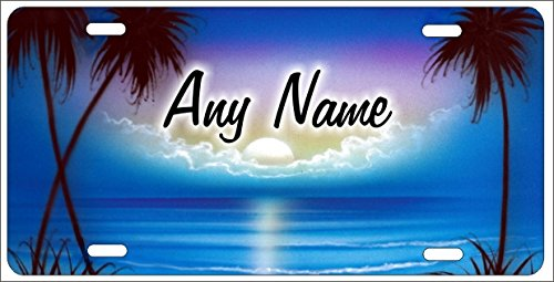 Personalized Airbrushed Blue Beach Scene Novelty License Plate Custom Decorative Airbrush Front Plate Blue Airbrushed License Plates