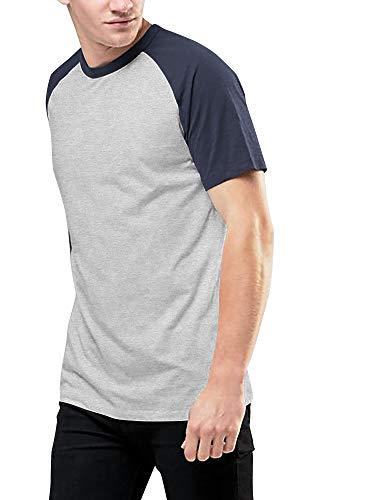 Ma Croix Mens Short Sleeve Baseball Tee Raglan Jersey Shirt (Medium, 1mx05_H.Gray/H.Denim)