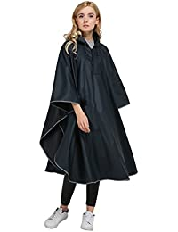 Rain Poncho Adults Packable Rain Jacket Light-Weight Raincoat Hooded Trench for Women and Men