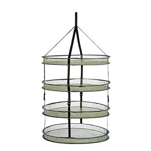 A1KINGDOM 2ft 4 Layer Upgrade Collapsible Mesh Hanging Hydroponic Plant Drying Rack Net (2L4) by A1KINGDOM