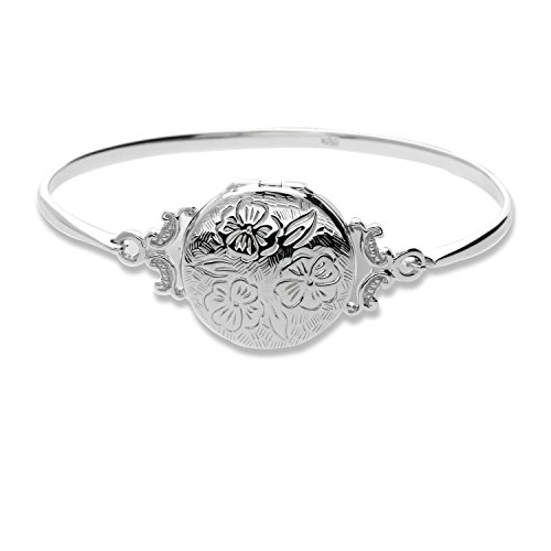 """Pearlina Sterling Silver Locket Bracelet Bangle Cuff Etched Floral Vintage Style for Woman 7"""""""