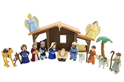 BibleToys Nativity Playset with Talking Mary Figurine, Multicolor]()