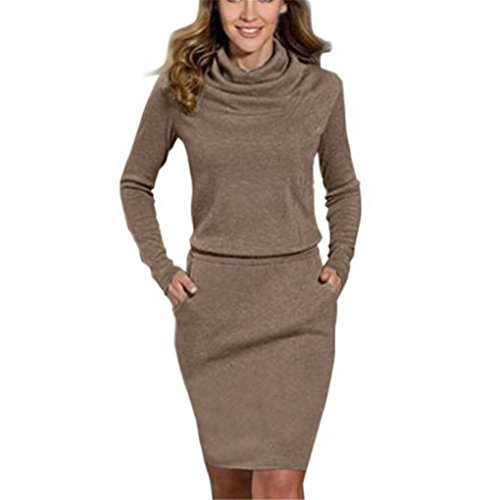 Price comparison product image Women Dress,Haoricu Fall Womens Ladies Fashion Package Hip Slim Mini Pencil Business Cocktail Dress (L, Coffee)