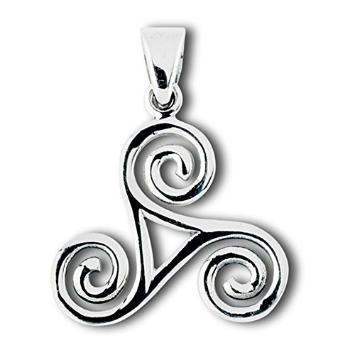Trinity Celtic Trisceal Pendant .925 Sterling Silver Tribal Symbol Wave Charm - Silver Jewelry Accessories Key Chain Bracelet Necklace Pendants