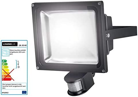 Foco LED de 30 W, color negro, sensor de movimiento con alta luminosidad, flujo luminoso aprox. 2200 lm: Amazon.es: Iluminación
