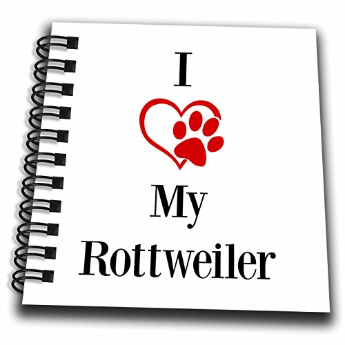 3dRose BrooklynMeme Pet Sayings - I love my Rottweiler - Mini Notepad 4 x 4 inch (Rottweiler Notepad)