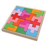 Qenci 40PCS Blocks Puzzle Set for Baby Kids Children Developmental Baby Toys Educational Toy Wooden Tetris Blocks Puzzle
