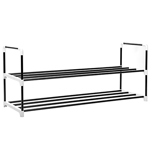 MaidMAX Stackable Shoe Rack, Metal Shoe Organizer Stand Holding Shoes for Closet Bedroom Entryway, Black (2-Tier) by MaidMAX