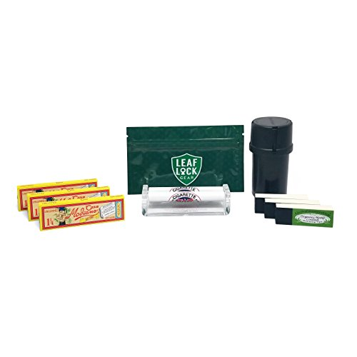 Papers Bistro (3 Packs), Job Plastic Cigarette Roller (79mm), Quintessential Rolling Tips (3 Packs), MedTainer with Grinder, and Leaf Lock Gear Tobacco Pouch - 9 Items - Bundle ()