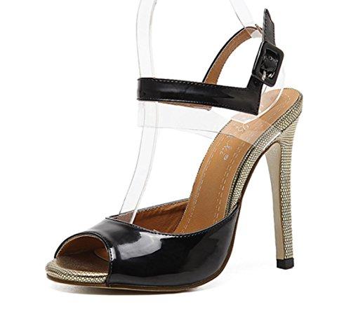 CSDM DONNA Snake Grain Stiletto Heel Sandali di Bocca Di Pesce Sandali Scarpe High Heeled Estate , black , 40