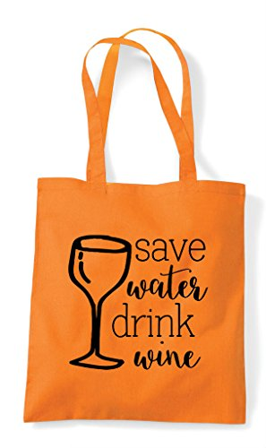 Shopper Drink Wine Water Tote Orange Statement Save Bag xqYgw5FF
