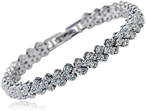 女性のためのクリスタルダイヤモンドテニスブレスレットチャームエレガント925スターリングシルバー