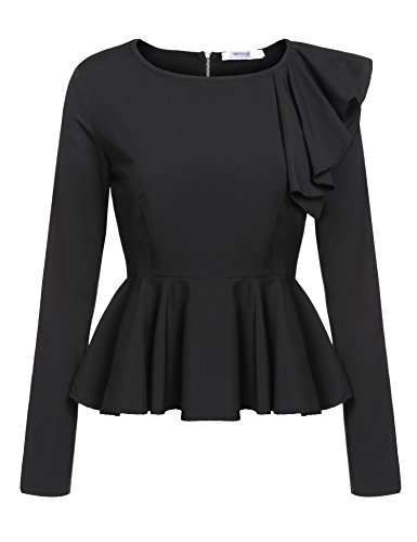 Meaneor Women's Ruffles Peplum Long Sleeve Dressy Blouse Tops