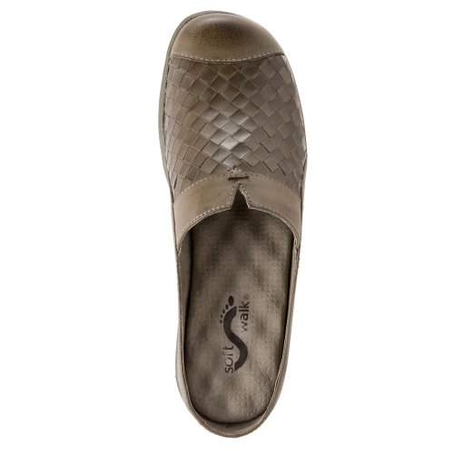 Marcos Mule San Burnished Women's SoftWalk Woven Kid Stone Leather Veg nx4ORP