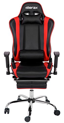 Merax Ergonomic Series Pu Leather Office Chair Racing Chair with Footrest Computer Gaming Chair, Recliner, Swivel, Tilt, Rocker and Seat Height Adjustment
