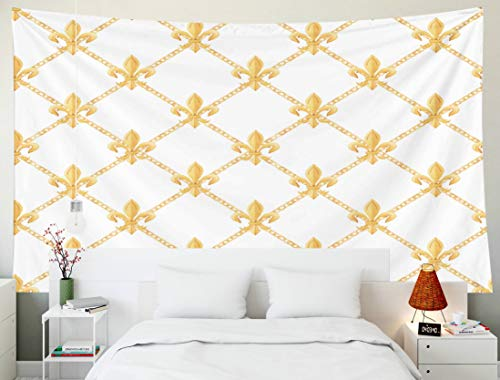 HerysTa Tapestry Wall Hanging, Tapestry Decoration 60x50 Inch Watercolor Pattern Golden Elements Luxury Chain Rhombuses Gold Fleur De Decorative Wall Hang Living Room Bedroom Dormitory - Golden Baroque Chain 50