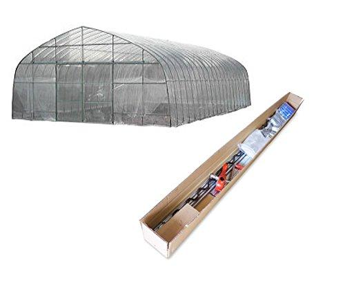 南栄工業 菜園ビニールハウス 四季 OH-5710約17.3坪 & サイド換気巻き上げ機(片側)付 出入口:スライド式扉   B079NQLFBF