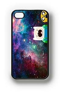 Apple iPhone 4 4G 4S Vintage Jake Finn Amazed Nebula Hipster Adventure Time Design BLACK Sides Slim HARD Case Skin Cover Protector Accessory Vintage Retro Unique AT&T Sprint Verizon Virgin Mobile Kimberly Kurzendoerfer